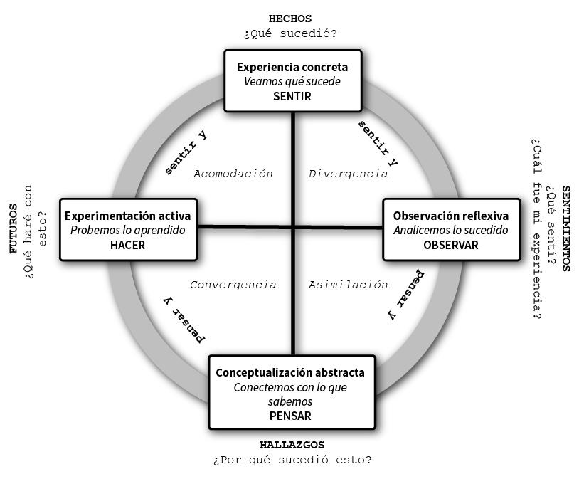 Diagrama del ciclo del aprendizaje experiencial